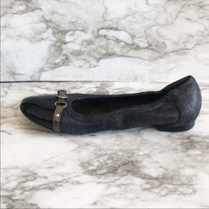 AGL Navy Blue Capped Toe Leather Ballet Flat